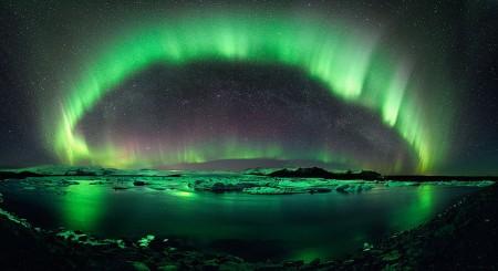 Solar energy pictures - Aurora above Bear Lake Alaska