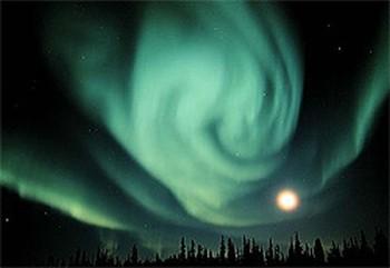 Solar energy pictures -aurora with moon- Nasa